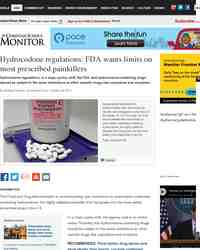Hydrocodone regulations FDA wants limits on most prescribed: Christian Science Monitor